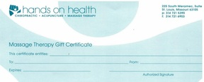 Hands on health gift certificate